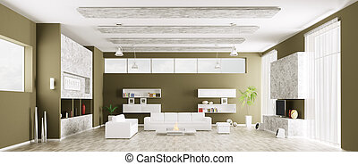 Interior of modern living room panorama 3d render