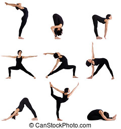 Collage of different yoga poses by pretty woman - Collage of...