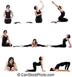 Set of studio photos with cute yoga model Isolated on white...