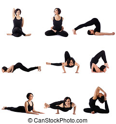 Collection of brunette doing stretching exercises -...