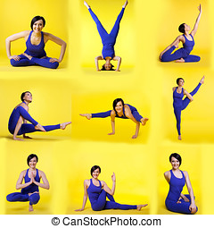 Set of different yoga poses by happy young woman - Set of...