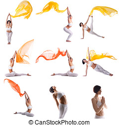 Photo collection of beautiful woman doing yoga