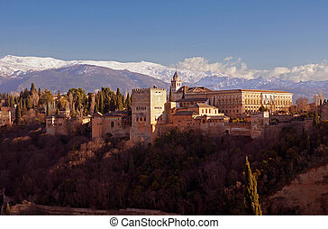 Alhambra and the Sierra Nevadas - Granada in Spain: the...