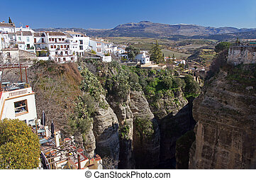 Spain: the town of Ronda and the 100m deep El Tajo gorge.