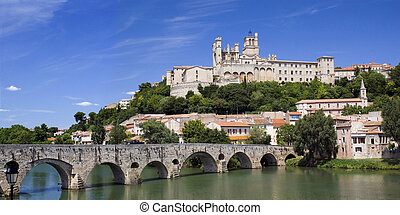 Beziers panorama - Beziers in France: Panoramic shot of the...