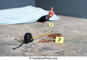 Crime scene investigation with a touch of humor, showing a...