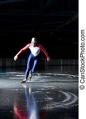 Speed skater start - Speed skater departing from his race on...