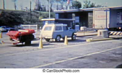 1972: Jeep towing 6-wheel ATV past - Original vintage 8mm...