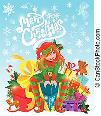 Red hair girl, X-mas Elf with gifts boxes, toys, presents. Merry Christmas card.