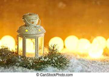 Christmas lantern in snow with copy space. Christmas...
