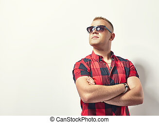 Handsome stylish man in sunglasses - Handsome stylish man in...