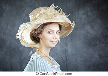 Woman with hat - Lady of old times in ancient...