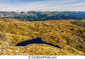 Glaciated mountain landscape in Langdale. - View of the...