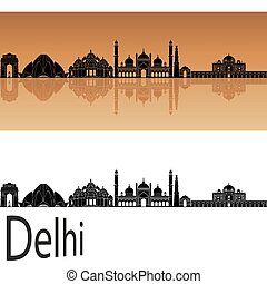 Delhi skyline in orange background in editable vector file