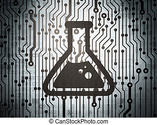 Science concept: circuit board with Flask - Science concept:...