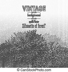 Vintage forest background with overlay texture. Vector illustration