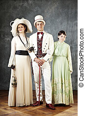 Ancient family - Family of the past times - married couple...