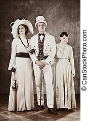 Family in retro tones - Family of the past times - married...