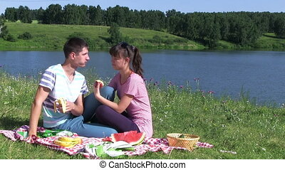 Happy Couple Have Picnic Outdoor - happy couple have picnic...