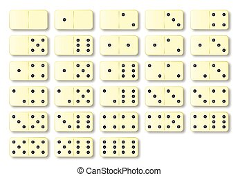 Dominoes Set - A complete set of ivory dominoes over a white...