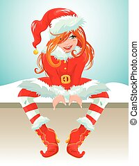 Red hair girl wearing red Santa Claus costume. Christmas and New Year card. Element for winter holidays design.