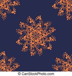 Colorful Seamless background with Orange Abstract Flowers on...