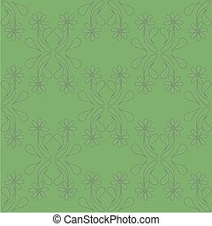 Seamless Grayscale Floral Pattern on the Color Background