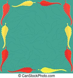 Frame with Red and Yellow Leaves on the Turquoise Background...