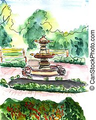 Watercolor illustration of summer park with fountain and...