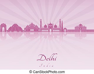 Delhi skyline in purple radiant orchid in editable vector...