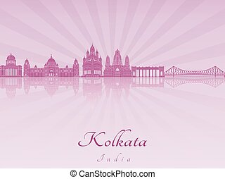 Kolkata skyline in purple radiant orchid in editable vector...