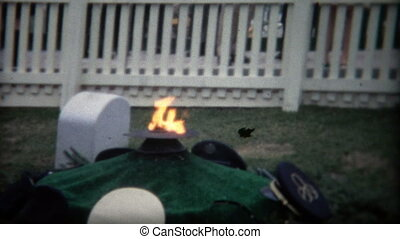 1972: Eternal flame at cemetery - Original vintage 8mm film...