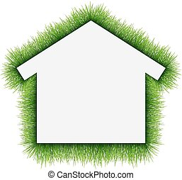 House symbol covered of grass