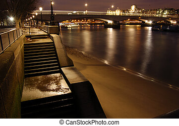 London-28-0003 - South Bank and Waterloo Bridge at night,...