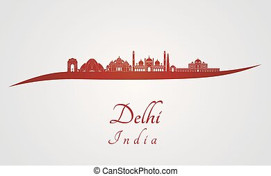 Delhi skyline in red and gray background in editable vector...