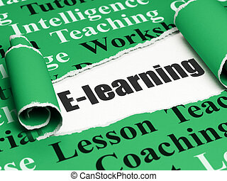 Education concept: black text E-learning under the piece of...
