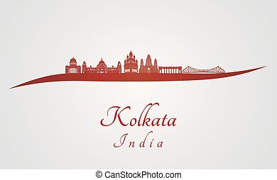 Kolkata skyline in red and gray background in editable...
