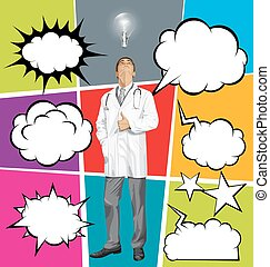 Big Set Of Bubble Speech And Doctor Man Looking Up - Vector...