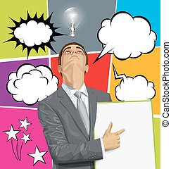 Big Set Of Bubble Speech And Man Looking Up - Vector...