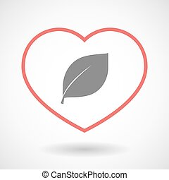 Line heart icon with a leaf