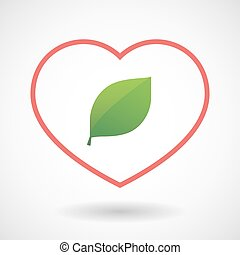 Line heart icon with a green  leaf