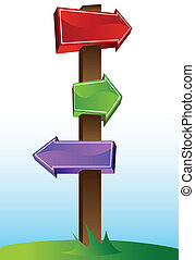 Crossroads Sign - Cartoon crossroads sign with blue sky on...