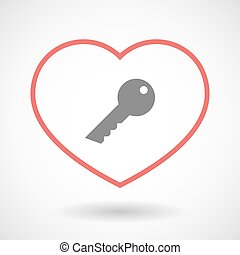 Line heart icon with a key