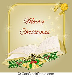 Merry Christmas frame with book vector.eps - Merry Christmas...