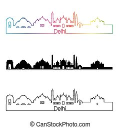 Delhi skyline linear style with rainbow in editable vector...