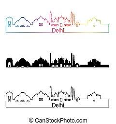 Delhi skyline linear style with rainbow in editable vector...