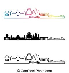 Kolkata skyline linear style with rainbow in editable vector...