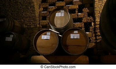 Barrels In A Wine Cellar - Barrels in a wine cellar, dolly...