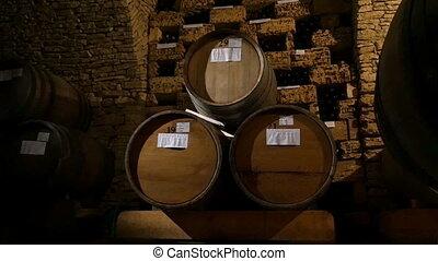 Barrels In A Wine Cellar - Barrels in a wine cellar, dolly...