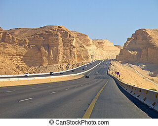 Road in desert - Road in the desert. Riyadh-Makkah highway,...